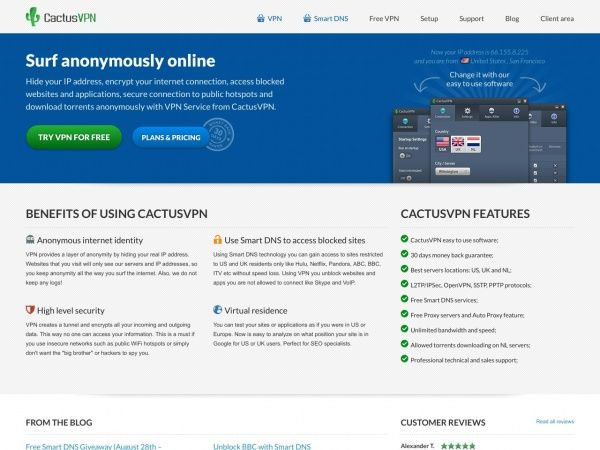 cactusvpn.com screenshot