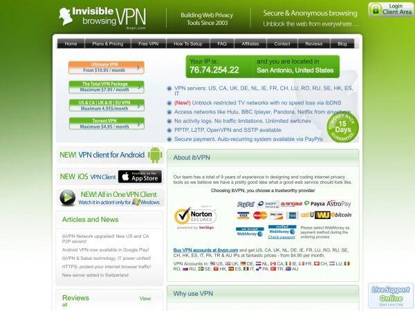 ibvpn.com screenshot